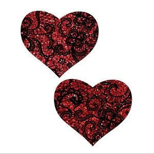 Valentines Black Lace Red Heart Love Pasties